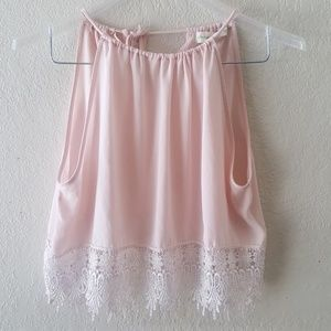 String to store crop top with lace bottom EUC